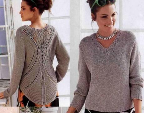 Женский пуловер спицами 1