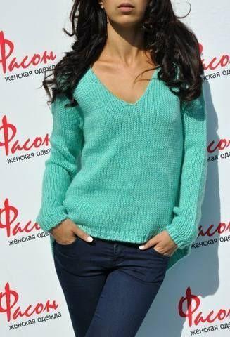 Женский пуловер спицами 3
