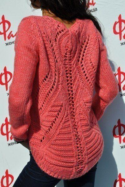 Женский пуловер спицами 4