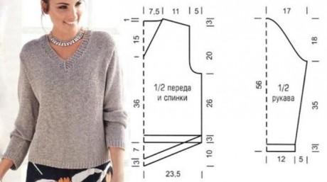 Женский пуловер спицами 5