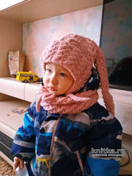Детская шапка с ушками и снуд, описание и видео-урок вязание и схемы вязания