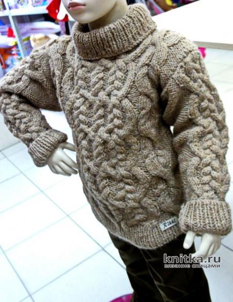 Детский свитер с аранскими узорами, описание и видео-урок. Вязание спицами.
