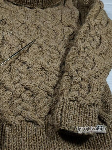 Детский свитер с аранскими узорами, описание и видео-урок вязание и схемы вязания