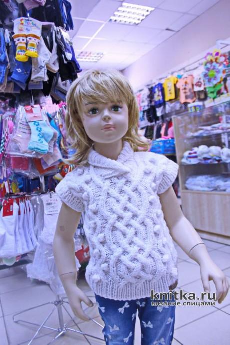 Детский жилет с аранским узором, описание и видео-урок вязание и схемы вязания