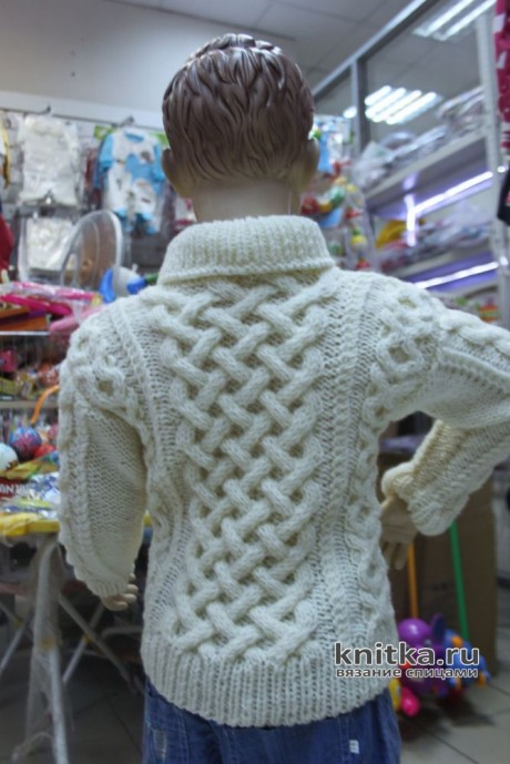 Джемпер для мальчика с аранскими узорами. Работа Светланы Лосевой вязание и схемы вязания