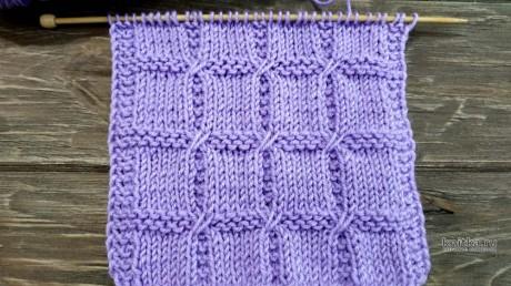 Эффектный геометрический узор спицами КВАДРАТЫ вязание и схемы вязания