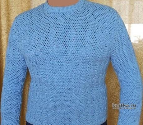 Мужской свитер спицами, видео - урок от Nataliya. Вязание спицами.