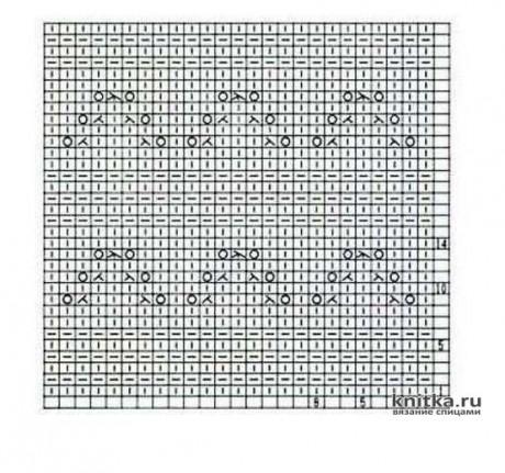 Оригинальный узор спицами Ажурные пирамидки, описание и видео-урок вязание и схемы вязания