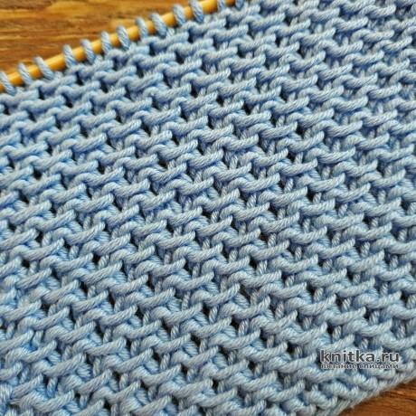 Простой универсальный узор спицами Кольчуга, описание и видео вязание и схемы вязания