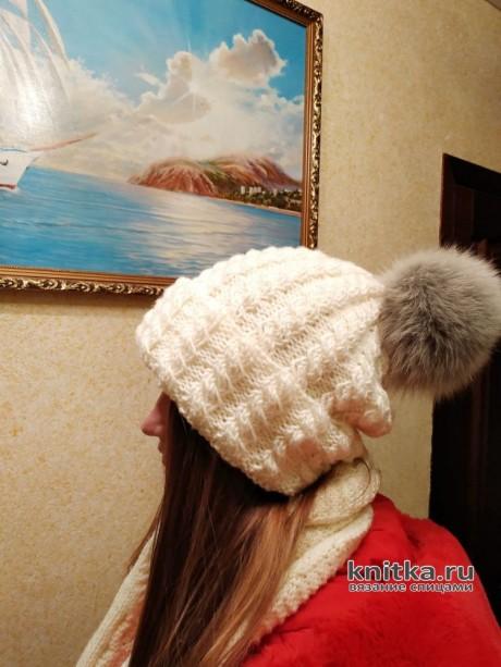 Шапка бини с узором косы связана спицами, описание и видео-урок вязание и схемы вязания
