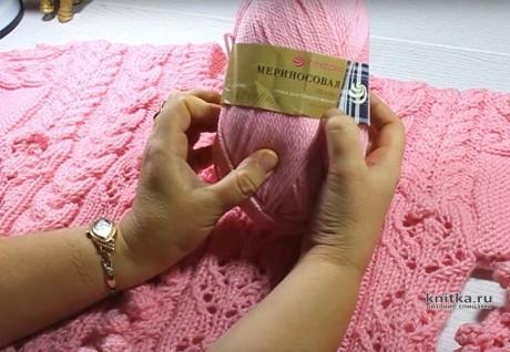 Женский джемпер с узором ажурные цветы и шишечки, описание и видео-урок вязание и схемы вязания