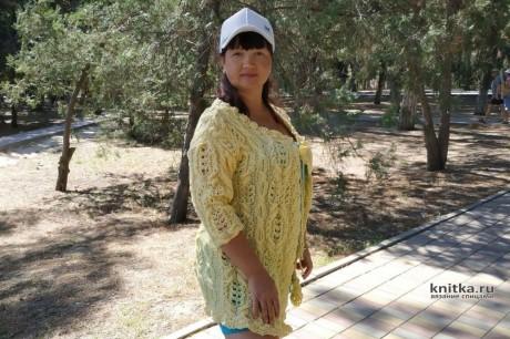Женский кардиган цвета солнца спицами, описание и видео-урок. Вязание спицами.
