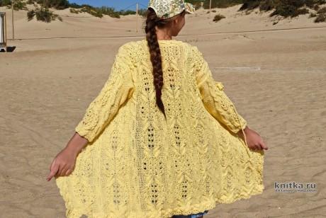 Женский кардиган цвета солнца спицами, описание и видео-урок вязание и схемы вязания
