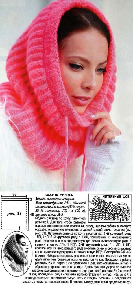 Ярко-розовый шарф - труба
