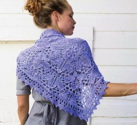 Ажурный платок - косынка спицами