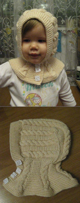 Шапка-шлем для девочки с косами, мастер - класс!