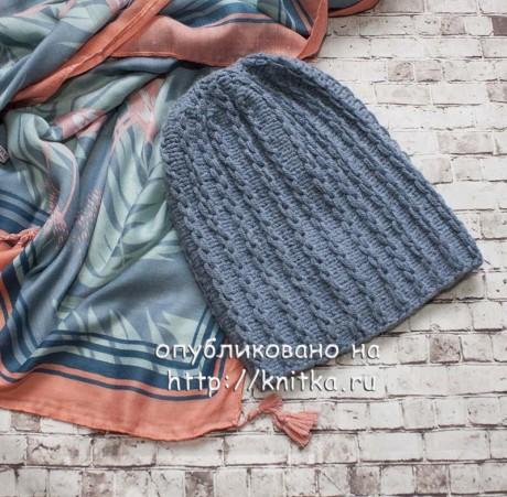 Простая шапка спицами с узором Цепочки, описание и видео-урок