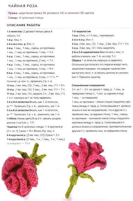 Как связать спицами цветы розы