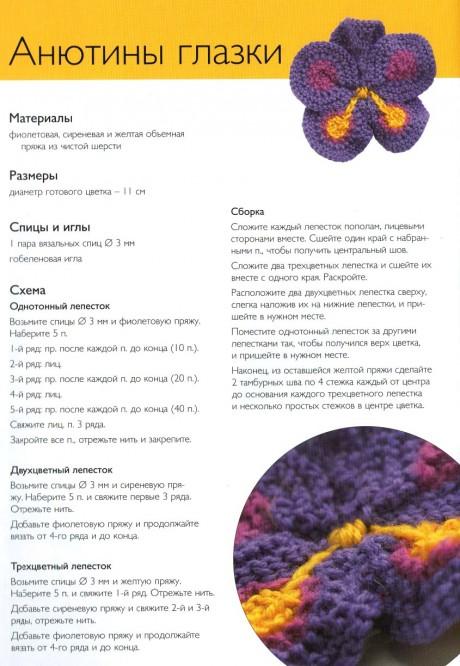 Схемы вязания разных цветов спицами