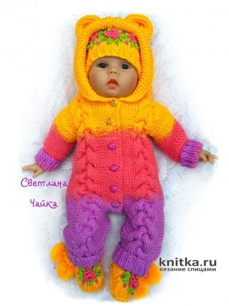 Комбинезон для новорожденного спицами. Работа Светланы Чайка. Вязание спицами.