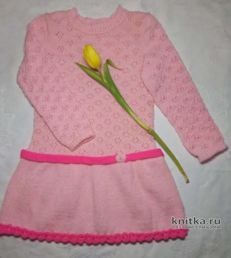 Платье для девочки связано спицами. Работа Ольги. Вязание спицами.