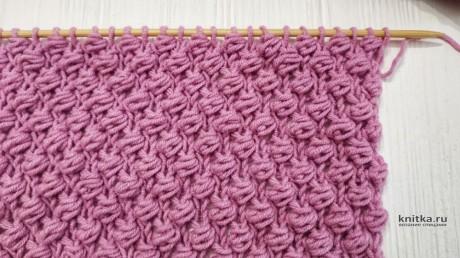Рельефный узор спицами Букле, схема и видео-урок вязание и схемы вязания
