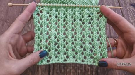 Узор Ажурные дорожки спицами, описание и видео-урок вязание и схемы вязания