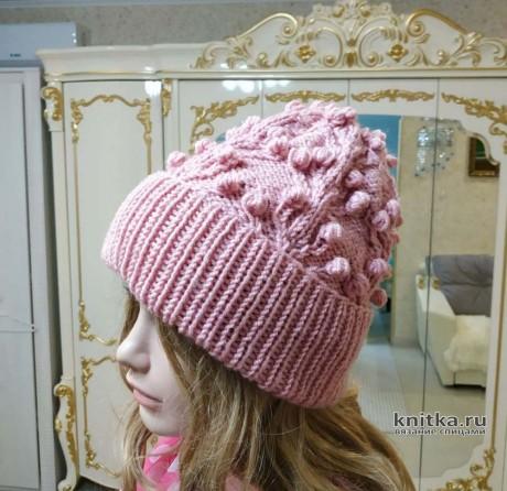 Женская шапка с узором шишечки. Работа Светланы Лосевой. Вязание спицами.