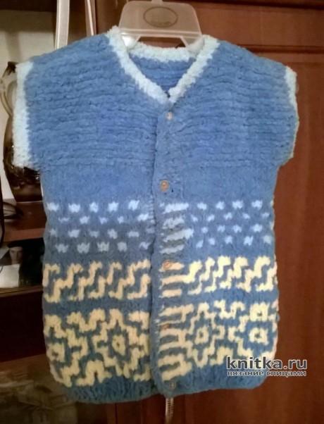 Жилет для мальчика спицами из Alize Softy Plus. Работа Галины. Вязание спицами.
