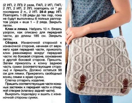 Вязанная спицами сумка - почтальон из шерсти мериноса