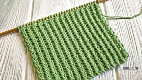 Классная резинка спицами из скрещенных петель вязание и схемы вязания