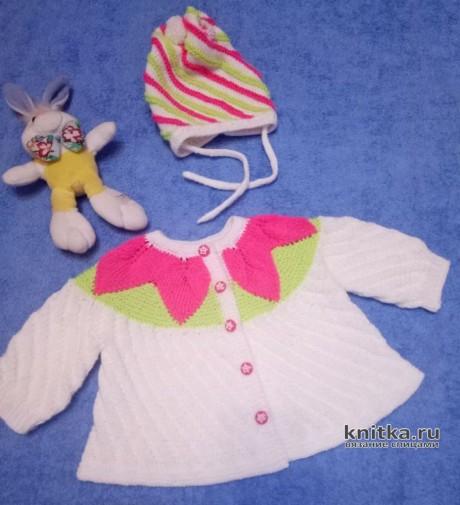 Кофточка и шапочка для девочки 0-3 мес. связаны спицами. Работы Ольги. Вязание спицами.