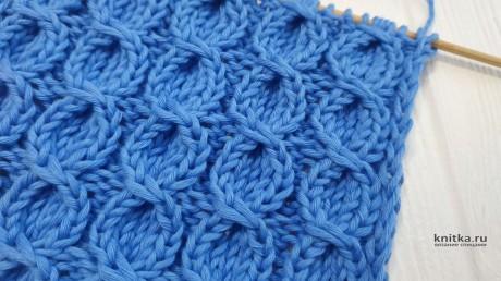Красивый и объемный УЗОР спицами из КОС для шапки/снуда вязание и схемы вязания