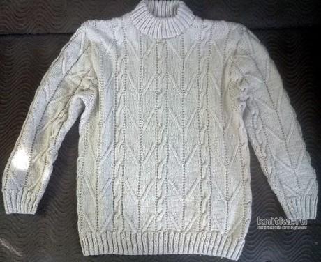 Мужской джемпер спицами связан аранским вязанием, описание и видео-урок вязание и схемы вязания