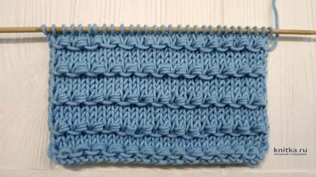 Простой и интересный узор спицами Узелки, описание и видео-урок вязание и схемы вязания