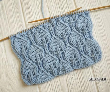 Шикарные листочки, 3D узор спицами вязание и схемы вязания
