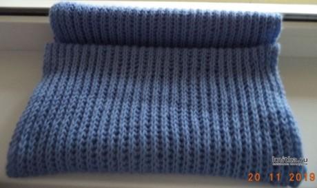Вязанный спицами шарф английской резинкой. Работа Анны вязание и схемы вязания
