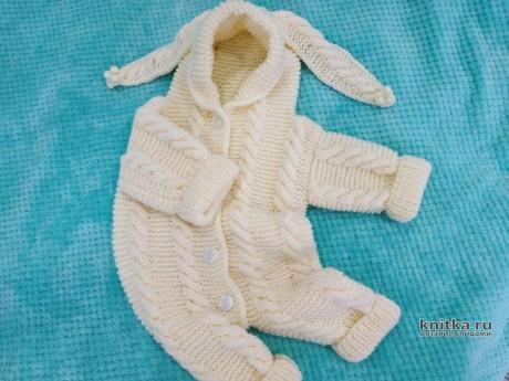 Вязаный комбинезон для малыша 0-4 мес. Работа Светланы Лосевой вязание и схемы вязания