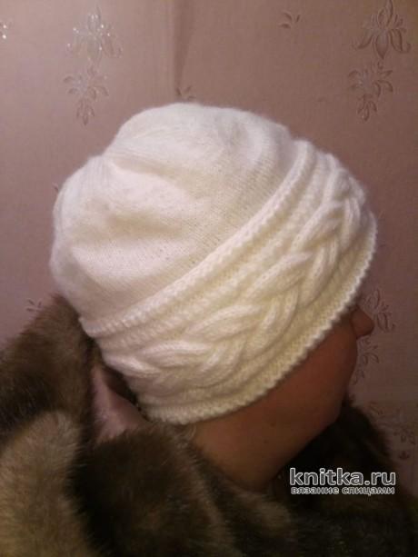 Женская шапочка с отворотом. Работа Ольги вязание и схемы вязания
