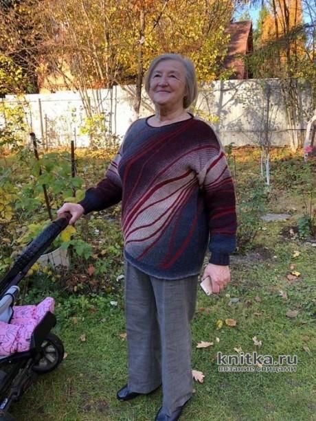 Женский пуловер спицами Таинственный лес. Работа Еланы вязание и схемы вязания