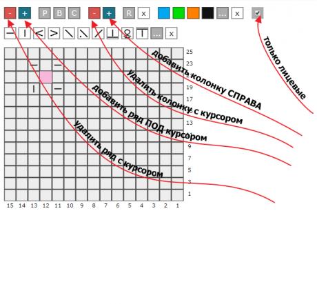 Изменение размеров схемы в редакторе схем для вязания спицами