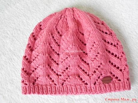 Детская шапка Весенний ажур спицами