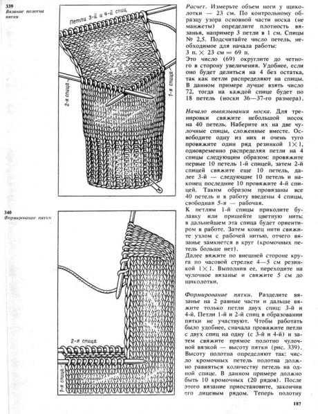 Описание, как вязать носки спицами