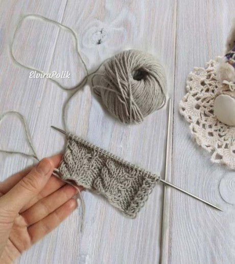 Описание узора для зимней шапки с поперечными косами