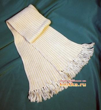 Как связать шарф спицами граненной резинкой