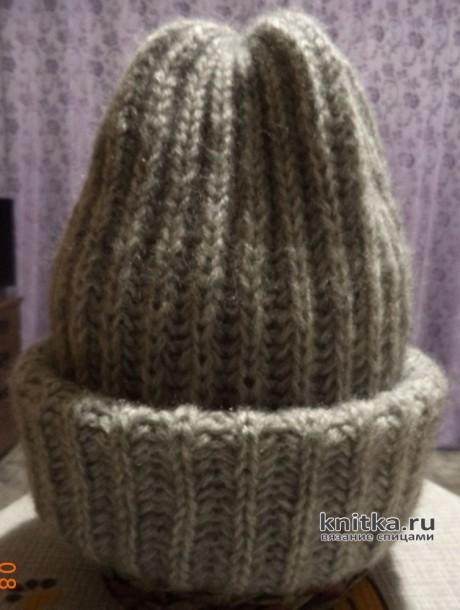 Как связать зимнюю шапку английской резинкой. Работа Анны вязание и схемы вязания