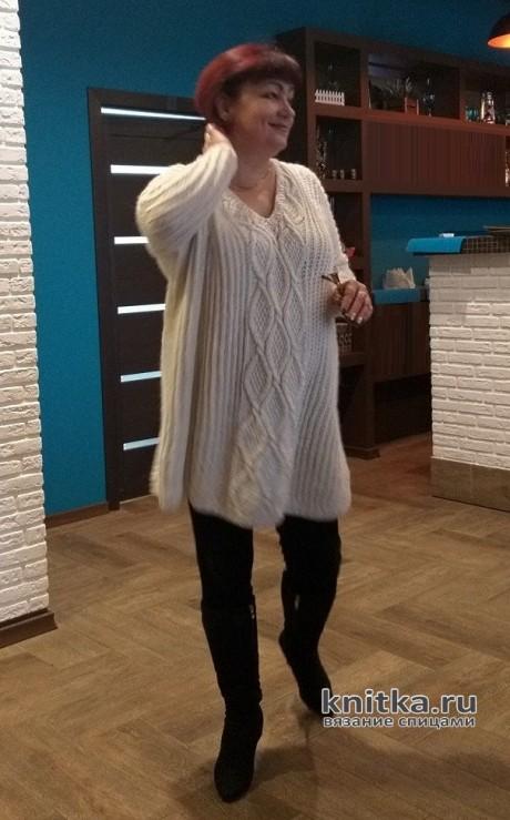 Пуловер спицами женский оверсайз, описание, схема и видео-урок. Вязание спицами. 0n