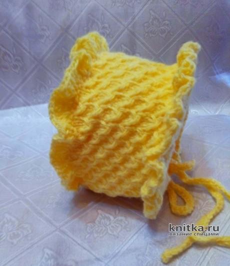 Шапочка (чепчик) для девочки спицами. Работа Ольги вязание и схемы вязания