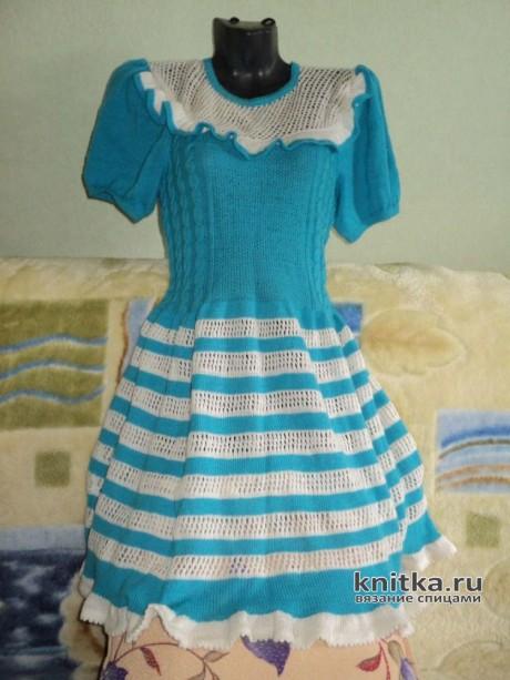 Женское платье спицами, работа Ольги. Вязание спицами.