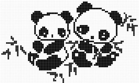 схемы вязания узора панда спицами